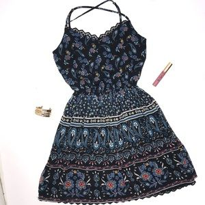 Floral Geometric Tribal Print Hollister Dress